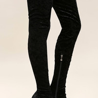 Julia Black Velvet Thigh High Boots