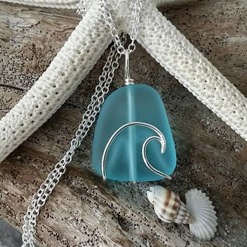 Handmade in Hawaii, wire wrapped ocean wave blue sea glass necklace,Sea glass jewelry, 925 sterling silver chain, gift box