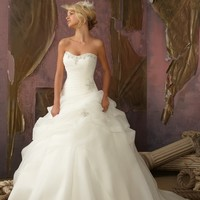 Mori Lee 1858 Organza Ball Gown Wedding Dress