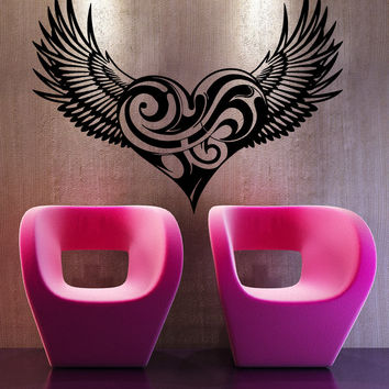 Swirly Heart with Wings Vinyl Wall Decal #5543