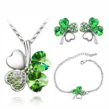 Austrian Crystal Clover Charm Chain Floating Heart Pendant 4 Leaf Leaves Necklace Earrings Bracelet Jewelry Sets