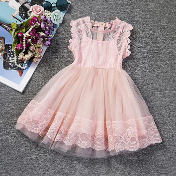 Cute Children Clothing Girl Lace Birthday Outfits Tutu Flower Girl Wedding Kids Prom Designs Dresses For Girls School Party Wear
