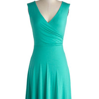ModCloth Minimal Mid-length Sleeveless A-line Cheers to You Dress in Turquoise