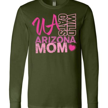 Official NCAA Venley University of Arizona Wildcats U of A Wilber Wildcat BEAR DOWN! Mom Heart Long Sleeve T-Shirt - uofa2424