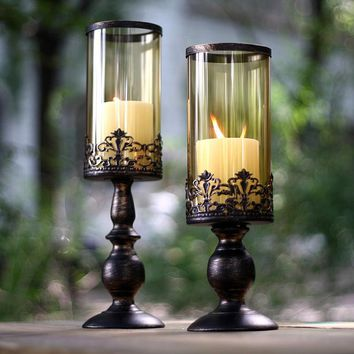 American Europe Classic Retro Wrought Iron Glass Candle Holders