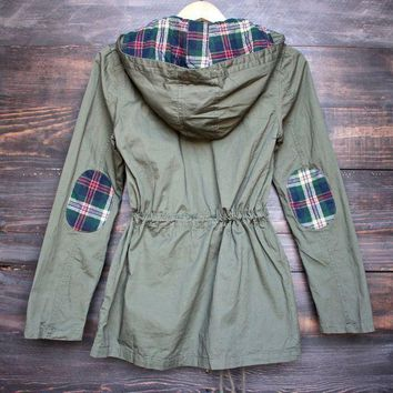 DCCKLM3 womens plaid hooded military parka jacket - olive green
