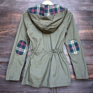 DCCKLR6 womens plaid hooded military parka jacket - olive green