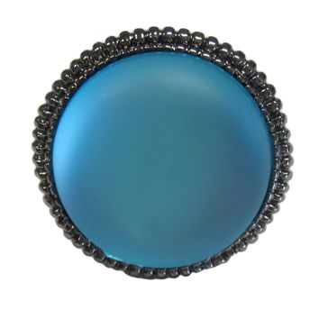 Psychedelic Blue Matte Finish Round Resin Stone Fashion Ring in Black Rhodium