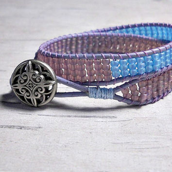 Bead Double Wrap Bracelet, Lavender and Sky Blue Bracelet, Wrap Around