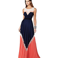 BCBGMAXAZRIA Kathrine Colorblock Pleated Maxi Dress | Dillards.com