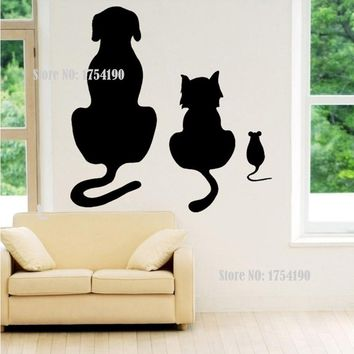 Dogs, Cats And A Mouse Wall Art Sticker Animal Vinyl Mural RS8385