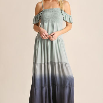 Ombre Maxi Dress with Flutter Sleeve