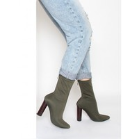 Amarie Khaki Stretch Lycra Pointed Toe Ankle Boots : Simmi Shoes