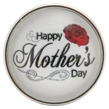 "Snap Charm Happy Mother's Day with Red Rose 20mm 3/4"" Diameter Fits Ginger Snaps"