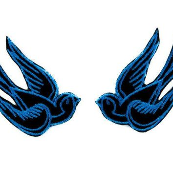 ac spbest Blue Swallow Sparrows Birds Patch Iron on Applique Alternative Clothing Tattoo Rockabilly