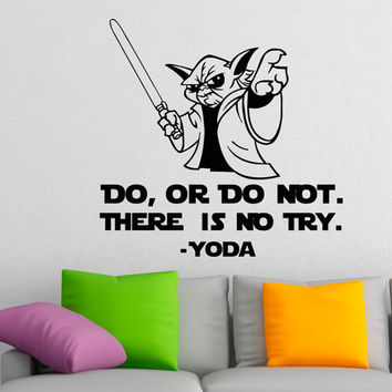 Star Wars Wall Decal Quote Do Or Do Not There Is No Try Yoda Wall Decals Murals Children Kids Teens Boys Room Bedroom Dorm Home Decor Q100