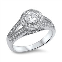 925 Sterling Silver CZ Simulated Diamond 9MM Round Center Designer Halo Engagement Ring