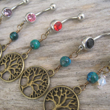 CHOOSE One Tree of Life Belly Ring, BRONZE Belly Button Ring, Azurite & Malachite, Birthstone Navel Piercing, Nature Body Jewelry, Tree