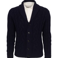 Cable Shawl Neck Cardigan | Hackett