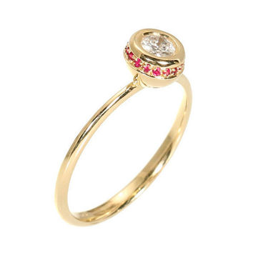 Unique Diamond Ring - Dainty Engagement Ring - 0.25 Carat Round Diamond & 0.08 carat Round Ruby's - 14k Solid Gold.