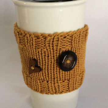 Knit Cup Cozy Knit Cup Sleeve Knit Cozy Brown Cup Cozy Knit Cup Warmer Knitted Cup Sleeve Travel Cup Sleeve Brown Cup Sleeve