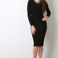 Rib Knit Long Sleeve Midi Dress