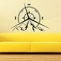 Compass Rose Mountains Wall Decal Vinyl Sticker Decals Nautical Compass Navigate Ship Living Room Bedroom Decor Nautical Wall Decal C609