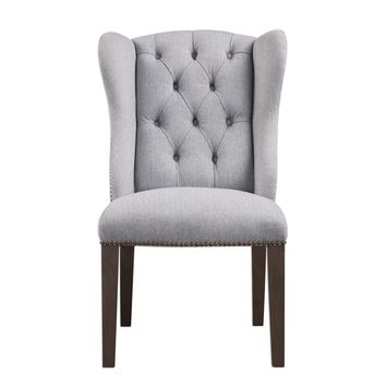 Jonna Wingback Gray Tufted Dining Chair by Uttermost