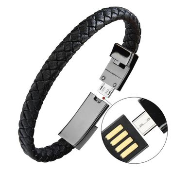 Braided Bracelet Wrist Lightning Cable Data Bracelet Charging Cord for apple phone,Genuine Leather Bracelet Charger Cuff USB