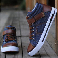 Hot!2014 New British Fashion Cowboy Canvas Casual Lace-up Skateboard Shoes SH-69