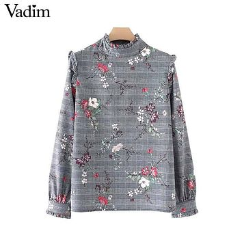 Vadim vintage floral plaid shirts ruffled collar Houndstooth long sleeve blouses retro ladies autumn casual tops blusas LT2480