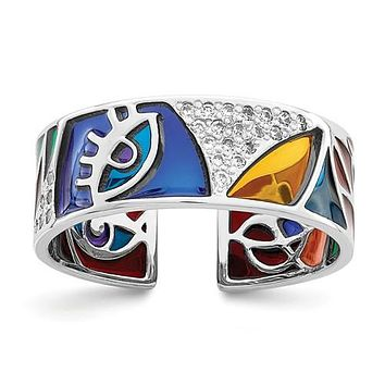 925 Sterling Silver Colourful Abstract CZ Ring
