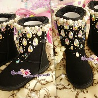 PROMOTION WINTER Black Sheepskin UGG Inspired Boots with shinning and stylish CRYSTALS - Falling Stars - ZoeCrystal