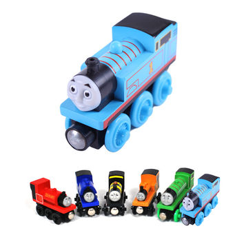 wooden toys thomas train Magnetic thomas and friends Wooden Model Train for baby children Kids 6 Colors