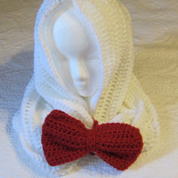 Crochet Cowl /Hooded Scarf with Removable Red Bow Very Fashionable and Trendy. Ready to Ship!