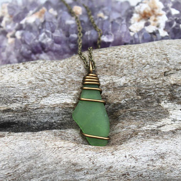 Hawaiian Jewelry, Hawaii Sea Glass Necklace, Green Seaglass Jewelry, Beach Jewelry, Ocean Inspired Mermaid Necklace, Wire Wrapped Pendant