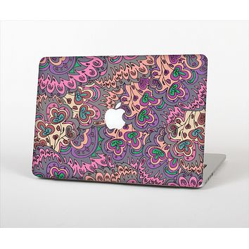 "The Purple, Green, and Blue Vector Floral Pattern Skin Set for the Apple MacBook Pro 13"" with Retina Display"
