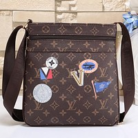 Louis Vuitton Women Men Office Bag Leather Satchel Shoulder Bag Crossbody