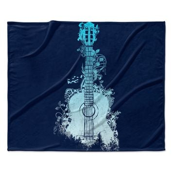 "Frederic Levy-Hadida ""Nature Tune - Blue"" Aqua Music Fleece Throw Blanket"