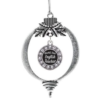 World's Best English Teacher Circle Charm Holiday Ornament