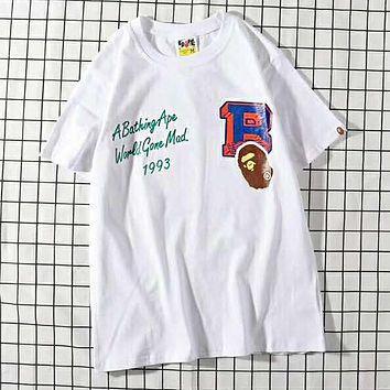 BAPE AAPE Popular Women Men Print T-Shirt Top Tee White