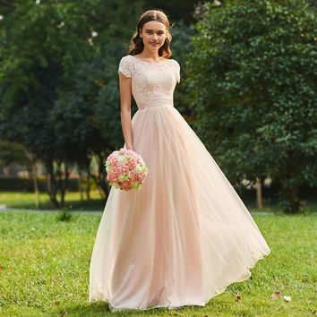 Lace bridesmaid dress scoop neck cap sleeves floor length a line gown women wedding party formal long bridesmaid dresses