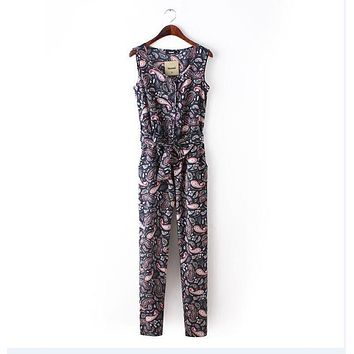 2016 Spring and Summer New Arrival Women Fashion Cashew Flower Print Jumpsuit, Female Pants Elegant Casual Slim Long Trousers