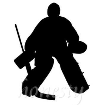 Hockey Goalie Window Wall Home Glass Door Car Sticker Laptop Auto Truck Black Vinyl Decal Sticker Decor Gift 11.6cmX14.8cm