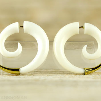 Fake Gauges Earrings Spiral Earrings Boho Tribal Style  White Bone Organic - FG079B YB G1