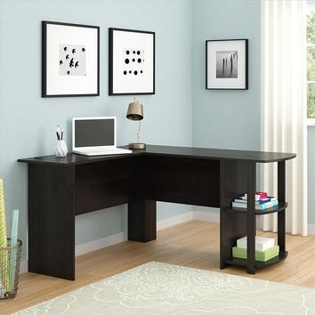 Wooden L-Shape Home Office Computer Desk with Shelves