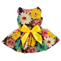 Fitwarm Pet Elegant Floral Ribbon Dog Dress Shirt Vest Sundress Clothes Apparel, Small