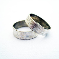 Simplicity. wedding rings sterling silver rustic texture wedding rings