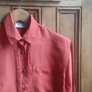 Ladies vtg silk blouse in burnt orange size medium womens clothing classic day wear casual tops vintage shirt Dolly Topsy Etsy UK