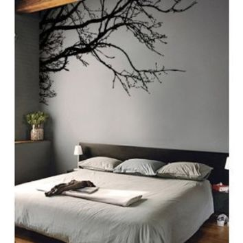 "TREE TOP BRANCHES WALL DECAL (BLACK /Left to Right) 100"" W X 44"" H #444m by Stickerbrand ★ Easy to Apply and REMOVABLE for Interior Walls ★ Made in the USA with the Best Material ★ No Mess, No Paint, No Glue/Paste, No Residue ≈ Safer than wallpaper ★ Black"
